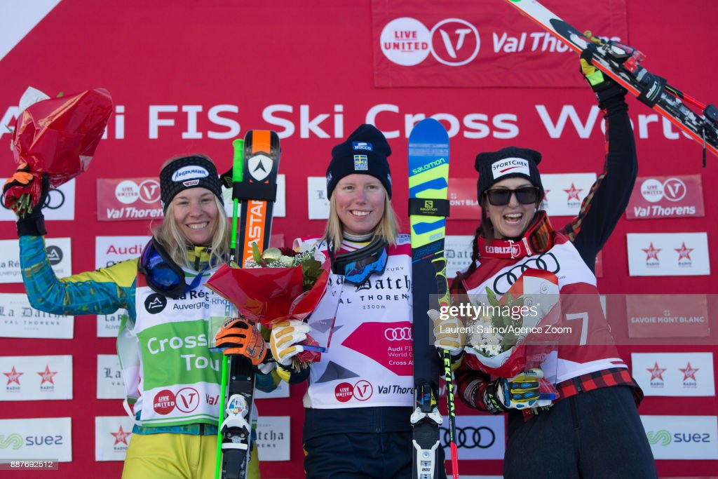 Sandra Naeslund of Sweden takes 1st place, Heidi Zacher of Germany takes 2nd place, Kelsey Serwa of Canada takes 3rd place during the FIS Freestyle Ski World Cup, Men's and Women's Ski Cross on December 7, 2017 in Val Thorens, France.