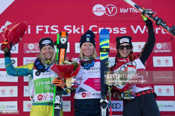Sandra Naeslund of Sweden takes 1st place Heidi Zacher of Germany takes 2nd place Kelsey Serwa of Canada takes 3rd place during the FIS Freestyle Ski...