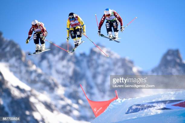 Sandra Naeslund of Sweden takes 1st place Kelsey Serwa of Canada takes 3rd place Georgia Simmerling of Canada competes during the FIS Freestyle Ski...