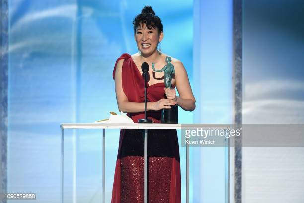 """Sandra Oh accepts Outstanding Performance by a Female Actor in a Drama Series for """"Killing Eve"""" onstage during the 25th Annual Screen ActorsGuild..."""