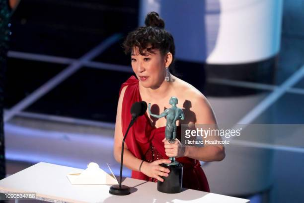 Sandra Oh accepts Outstanding Performance by a Female Actor in a Drama Series for Killing Eve onstage during the 25th Annual Screen ActorsGuild...