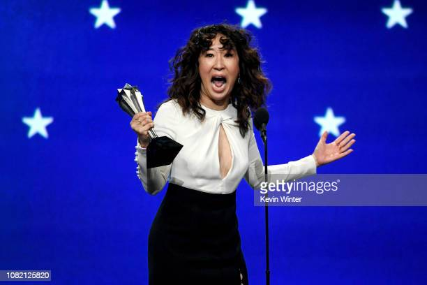 Sandra Oh accepts the Best Actress in a Drama Series award for 'Killing Eve' onstage during the 24th annual Critics' Choice Awards at Barker Hangar...