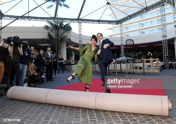 Sandra Oh and Andy Samberg hosts of the 76th Annual Golden Globe Awards rollout the red carpet during a preview day at The Beverly Hilton Hotel on...