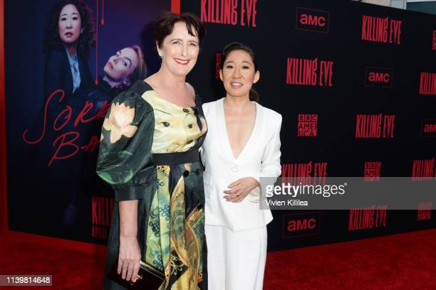 Sandra Oh and Fiona Shaw attend the Killing Eve premiere event on April 01 2019 in North Hollywood California