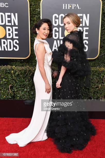 Sandra Oh and Jodie Comer attend the 76th Annual Golden Globe Awards at The Beverly Hilton Hotel on January 6 2019 in Beverly Hills California