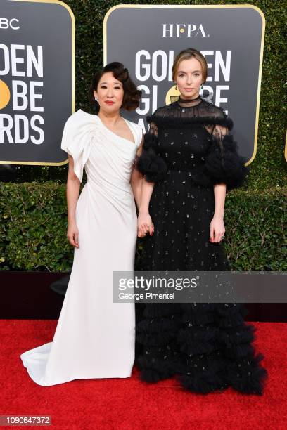 Sandra Oh and Jodie Comer attend the 76th Annual Golden Globe Awards held at The Beverly Hilton Hotel on January 06 2019 in Beverly Hills California
