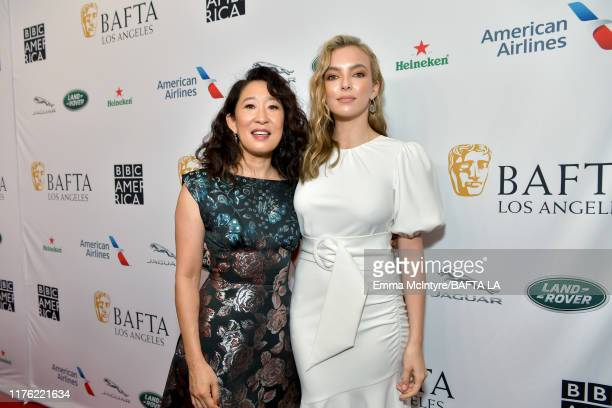 Sandra Oh and Jodie Comer attend the BAFTA Los Angeles + BBC America TV Tea Party 2019 at The Beverly Hilton Hotel on September 21, 2019 in Beverly...