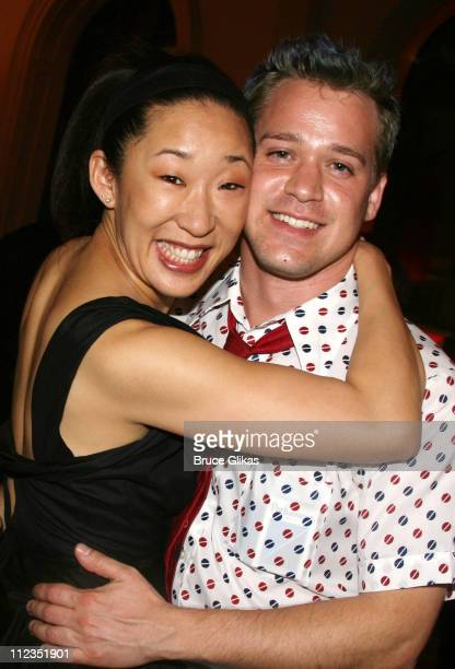 Sandra Oh and TR Knight during Satellites OffBroadway Opening Night at The Public Theater in New York City New York United States