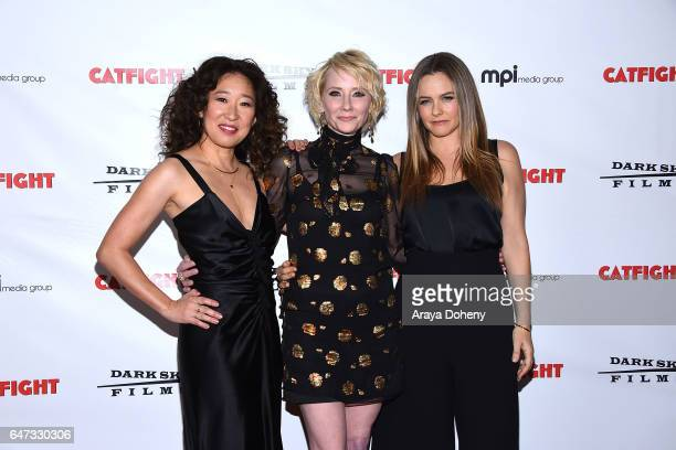 Sandra Oh Anne Heche and Alicia Silverstone attend the premiere of Dark Sky Films' 'Catfight' at Cinefamily on March 2 2017 in Los Angeles California