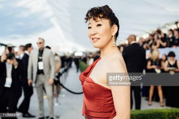 Sandra Oh arrives at the 25th annual Screen Actors Guild Awards at The Shrine Auditorium on January 27 2019 in Los Angeles California