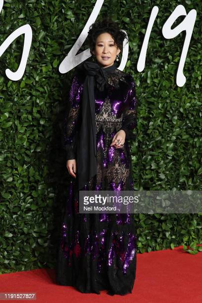 Sandra Oh arrives at The Fashion Awards 2019 held at Royal Albert Hall on December 02 2019 in London England