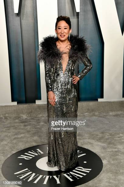 Sandra Oh attends the 2020 Vanity Fair Oscar Party hosted by Radhika Jones at Wallis Annenberg Center for the Performing Arts on February 09 2020 in...