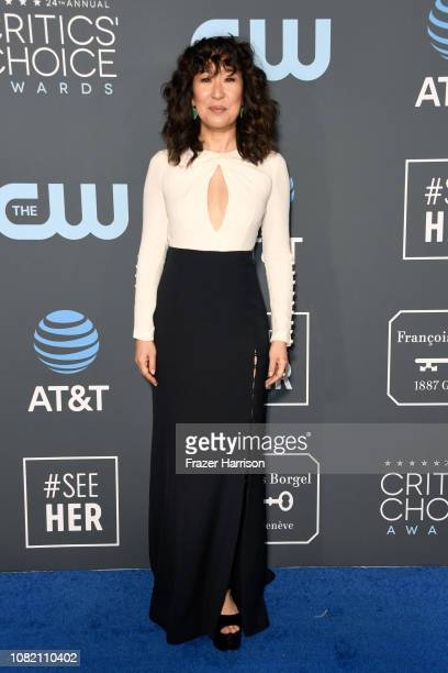 Sandra Oh attends the 24th annual Critics' Choice Awards at Barker Hangar on January 13 2019 in Santa Monica California