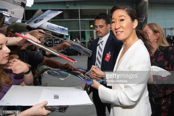 Sandra Oh attends the premiere of BBC America and AMC's 'Killing Eve' at ArcLight Hollywood on April 01 2019 in Hollywood California