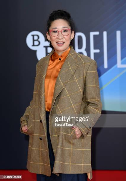 """Sandra Oh attends the """"The French Dispatch"""" UK Premiere during the 65th BFI London Film Festival at The Royal Festival Hall on October 10, 2021 in..."""