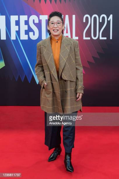 Sandra Oh attends the UK film premiere of 'The French Dispatch' at the Royal Festival Hall during the 65th BFI London Film Festival in London, United...