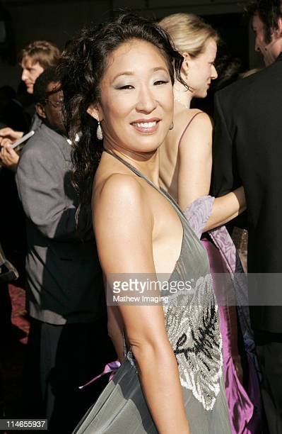 Sandra Oh during 57th Annual Primetime Creative Arts EMMY Awards Arrivals Red Carpet at Shrine Auditorium in Los Angeles California United States