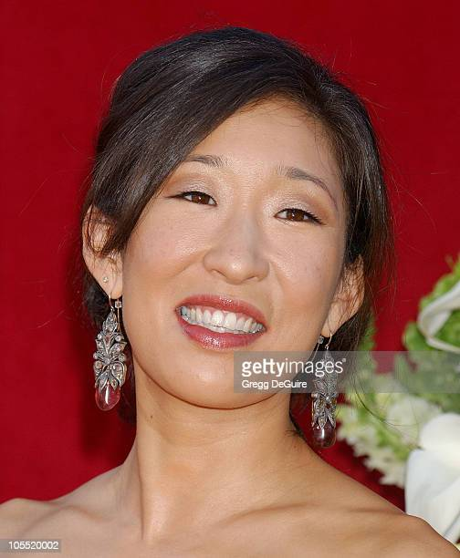Sandra Oh during The 57th Annual Emmy Awards Arrivals at Shrine Auditorium in Los Angeles California United States