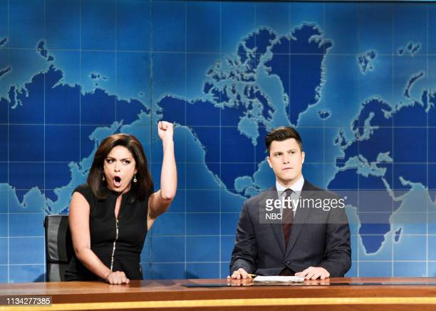 """Sandra Oh"""" Episode 1762 -- Pictured: Cecily Strong as Jeanine Pirro and anchor Colin Jost during """"Weekend Update"""" on Saturday, March 30, 2019 --"""