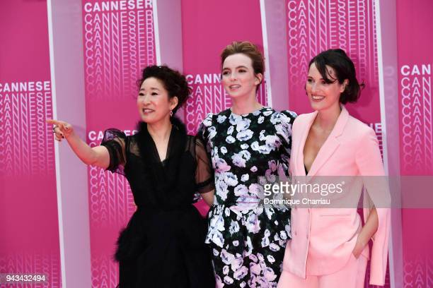 Sandra Oh Jodie Comer and Phoebe WallerBridge attend Killing Eve and When Heroes Fly screening during the 1st Cannes International Series Festival at...