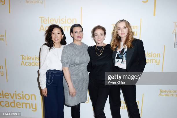 Sandra Oh journalist Stacey Wilson Hunt Executive Producer Sally Woodward Gentle and Jodie Comer attend Killing Eve FYC Event on April 02 2019 in...
