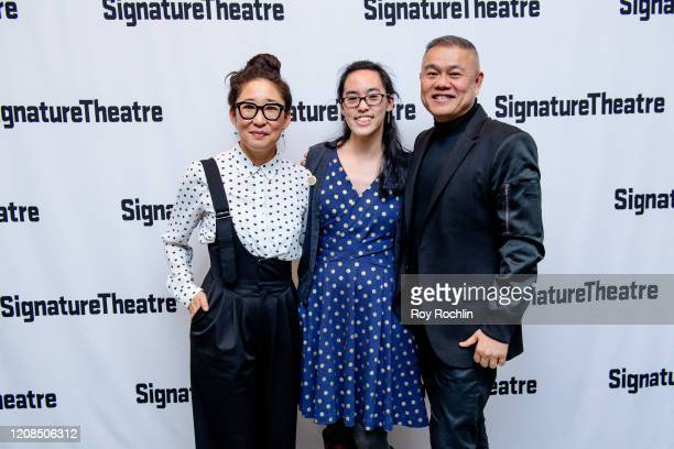 "Sandra Oh, Lauren Yee and Chay Yew attend the ""Cambodian Rock Band"" Opening Night Party at Signature Theatre Company's Pershing Square Signature..."