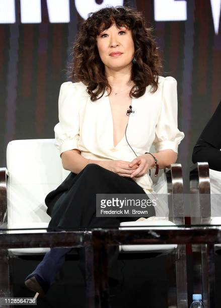 Sandra Oh of the television show Killing Eve speaks during the BBC America segment of the 2019 Winter Television Critics Association Press Tour at...