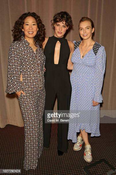 """Sandra Oh, Phoebe Waller-Bridge and Jodie Comer attend a special screening of the BBC's new drama """"Killing Eve"""" at BAFTA Piccadilly on September 5,..."""