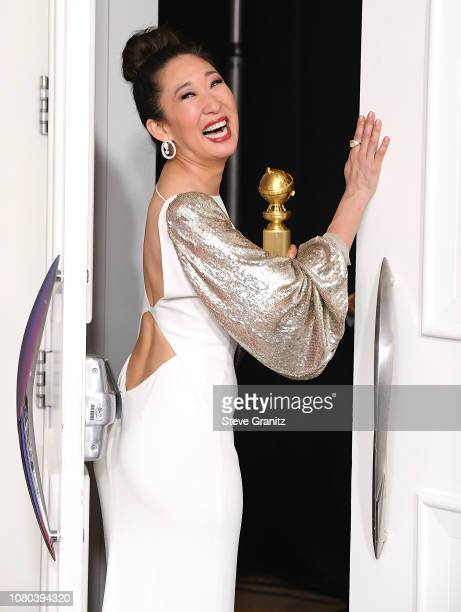 Sandra Oh poses at the 76th Annual Golden Globe Awards at The Beverly Hilton Hotel on January 6 2019 in Beverly Hills California