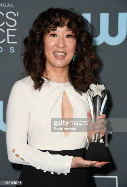 Sandra Oh winner of Best Actress in a Drama Series for 'Killing Eve' poses in the press room during the 24th annual Critics' Choice Awards at Barker...