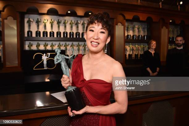 Sandra Oh winner of Outstanding Performance by a Female Actor in a Drama Series for 'Killing Eve' attends the 25th Annual Screen ActorsGuild Awards...