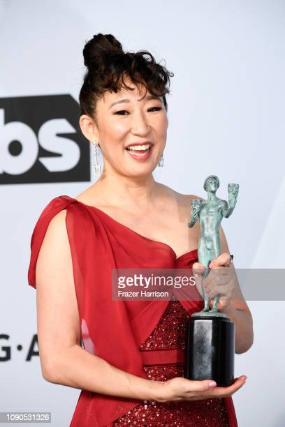 Sandra Oh winner of Outstanding Performance by a Female Actor in a Drama Series for 'Killing Eve' poses in the press room during the 25th Annual...