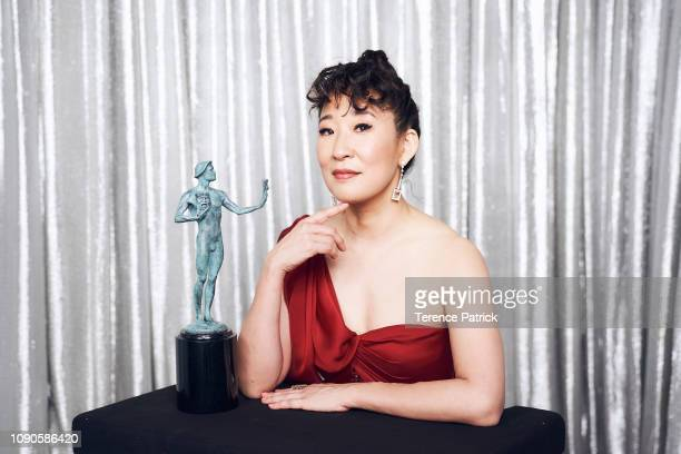 Sandra Oh winner of Outstanding Performance by a Female Actor in a Drama Series for 'Killing Eve' poses in the Winner's Gallery during the 25th...