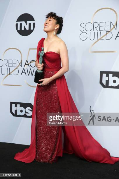 Sandra Oh winner of Outstanding Performance by a Female Actor in a Drama Series for 'Killing Eve' poses in the press room at the 25th annual Screen...