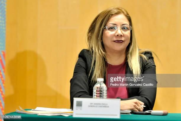 Sandra Paola Gonzalez Castañeda attends the screening of the documentary 'Hasta los Dientes' or 'Armed to the Teeth' at Camara de Diputados January...