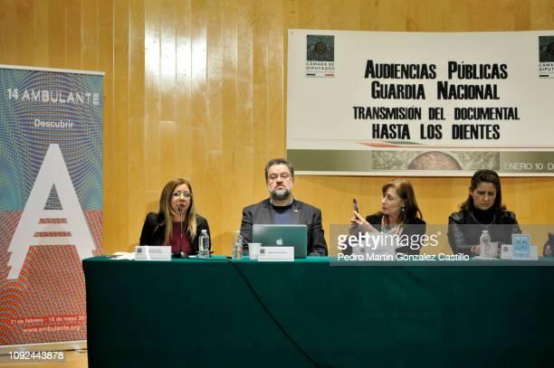Sandra Paola Gonzalez Castañeda Ernesto Lopez Portillo Vargas Tatiana Clouthier and Mexican politician Martha Tagle Martínez attend the screening of...