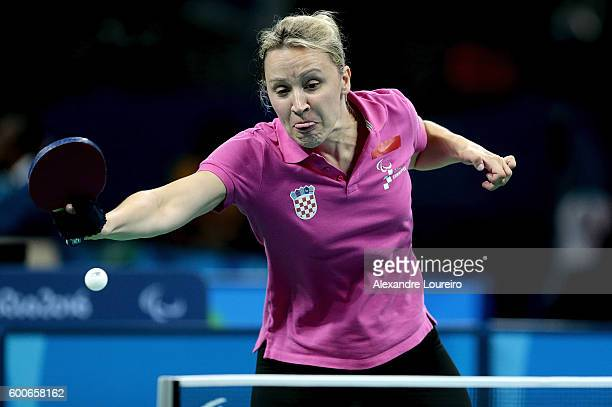 Sandra Paovic of Croatia in action against Kunwoo Lee during the prelimimary round of the Women's's Table Tennis on day 1 of the Rio 2016 Paralympic...