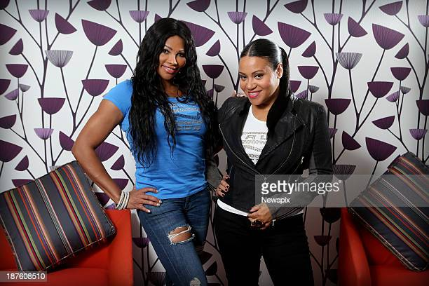Sandra 'Pepa' Denton and Cheryl 'Salt' James from American hip hop group 'SaltnPepa' pose during a photo shoot on November 4 2013 in Sydney Australia