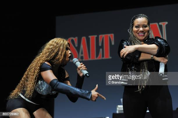 Sandra 'Pepa' Denton and Cheryl 'Salt' James of SaltNPepa peform on stage during the I Love the 90s concert at the SSE Arena on September 29 2017 in...