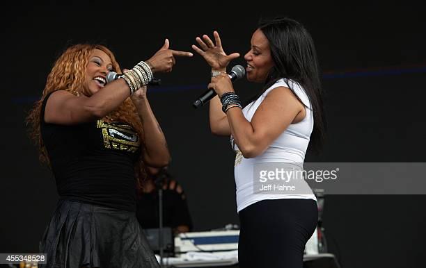 Sandra 'Pepa' Denton and Cheryl 'Salt' James of SaltnPepa perform at FunkFest 2014 at Metrolina Expo Fairgrounds on September 12 2014 in Charlotte...