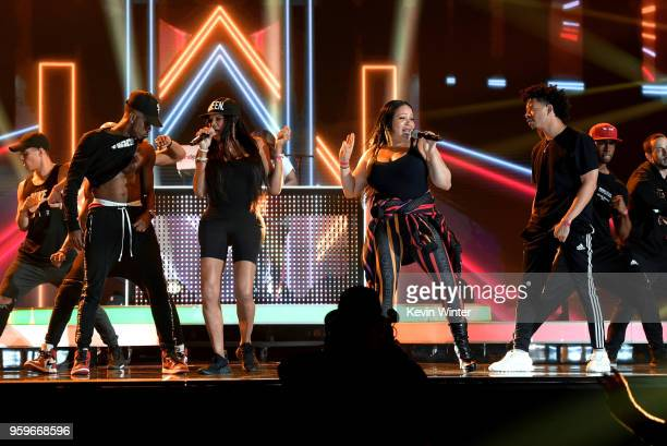 Sandra 'Pepa' Denton and Cheryl 'Salt' James of SaltNPepa rehearse onstage for the 2018 Billboard Music Awards at MGM Grand Garden Arena on May 17...