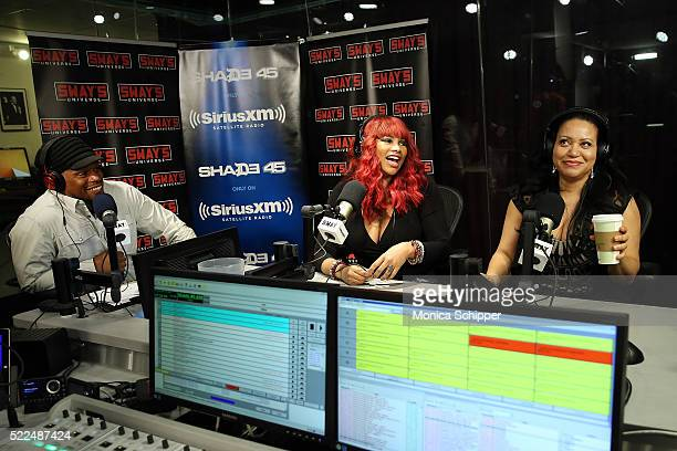 Sandra Pepa Denton and Cheryl Salt James of SaltNPepa visit 'Sway in the Morning' with Sway Calloway on Eminem's Shade 45 at SiriusXM Studios to...
