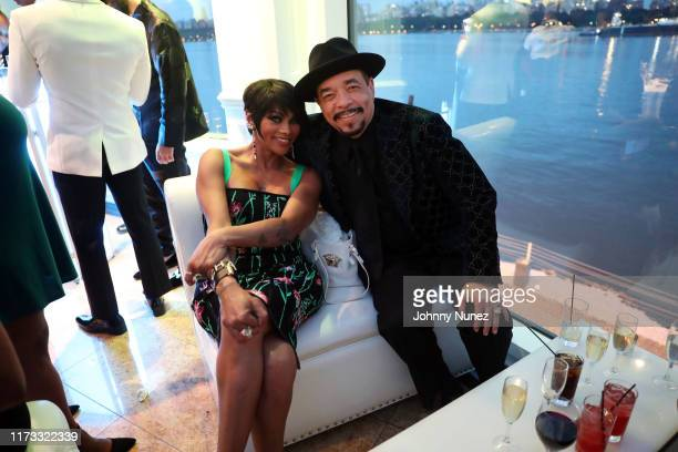 "Sandra ""Pepa"" Denton and IceT attend the Treach Cicely Evans Wedding at Waterside Reception Hall on September 08 2019 in North Bergen New Jersey"