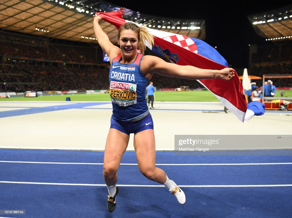 Sandra Perkovic of Croatia celebrates after winning Gold in the Women's Discus Throw Final during day five of the 24th European Athletics Championships at Olympiastadion on August 11, 2018 in Berlin, Germany. This event forms part of the first multi-sport European Championships.