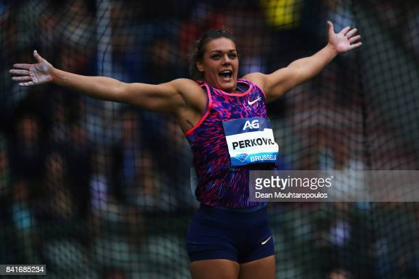 Sandra Perkovic of Croatia celebrates as she competes in the Discus Throw Women during the AG Memorial Van Damme Brussels as part of the IAAF Diamond...