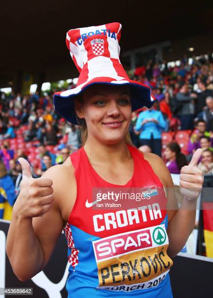 Sandra Perkovic of Croatia celebrates as she win gold in the Women's Discus final during day five of the 22nd European Athletics Championships at...