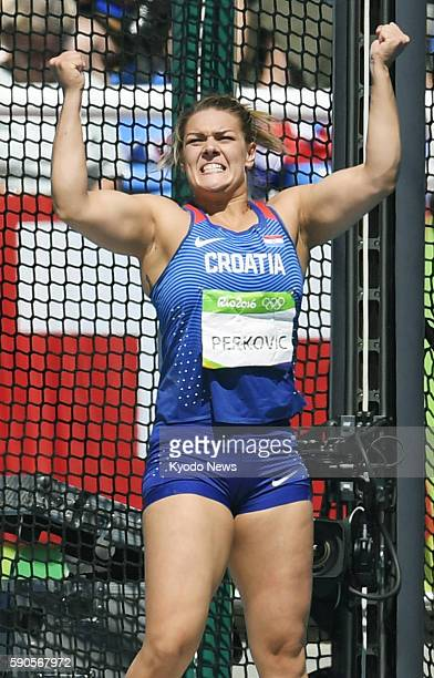 Sandra Perkovic of Croatia celebrates during the women's discus final at the Rio de Janeiro Olympics on Aug 16 2016 Perkovic won gold with a throw of...