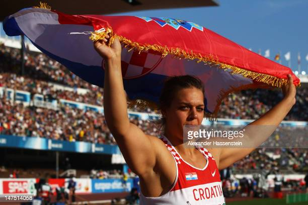 Sandra Perkovic of Croatia celebrates victory in the Women's Discus Final during day five of the 21st European Athletics Championships at the Olympic...