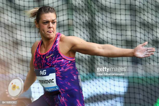 Sandra Perkovic of Croatia competes in the Discus Throw Women during the AG Memorial Van Damme Brussels as part of the IAAF Diamond League 2017 at...