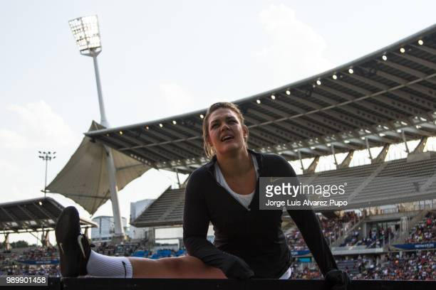 Sandra Perkovic of Croatia competes in the Discus Throw Women of the IAAF Diamond League Meeting de Paris 2018 at the Stade Charlety on June 30 2018...